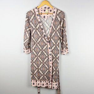 Anthropologie E by Eloise All Over Print Pink Robe